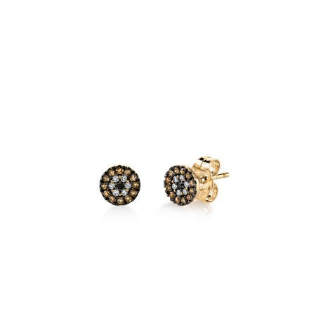 Sydney Evan -Yellow-Gold & Black Rhodium Tiny Evil Eye Disc Stud Earrings With Pave Diamond-allforher.com