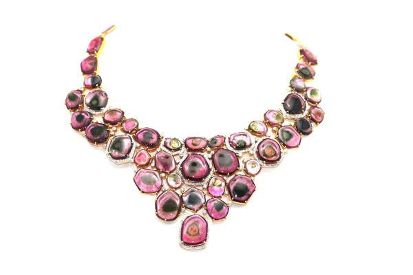 Tresor - Bicolor Diamond Necklace-allforher.com