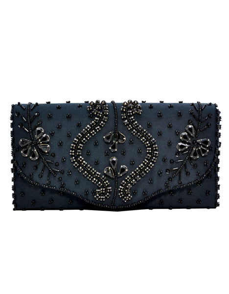La Regale - Beaded Flap Clutch-allforher.com