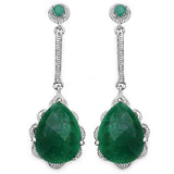 Olivia Leone - Emerald Silver Earrings-allforher.com