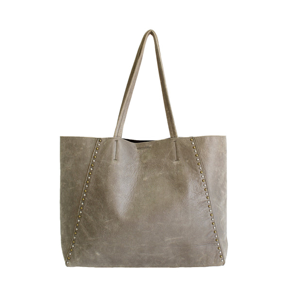 Streets Ahead - Distressed Studded Leather Tote-allforher.com