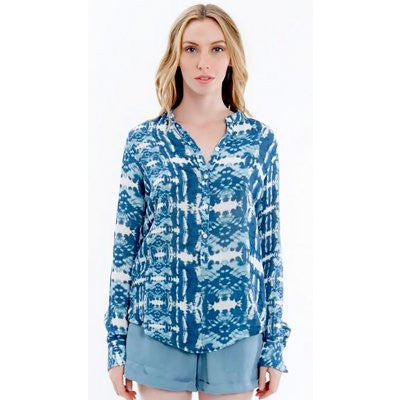 Hiche - Print Button Up Blouse-allforher.com