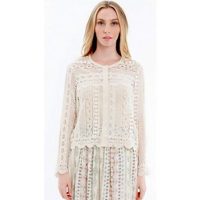 Hiche - Lace Long Sleeve Top-allforher.com