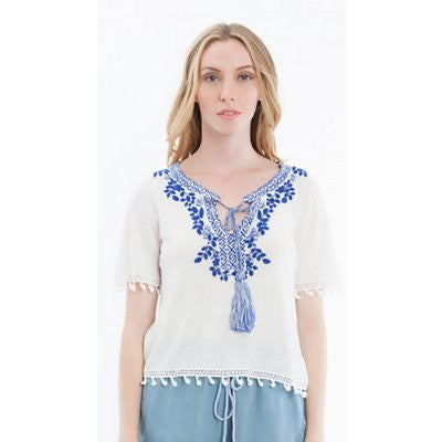 Hiche - Embroidered Tie Front Tee-allforher.com