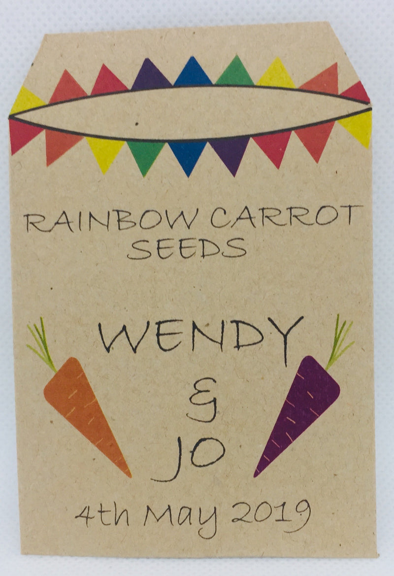 20 x Wedding and Civil Ceremony Favour - Rainbow Carrot Seeds - Seeds to Sow Limited