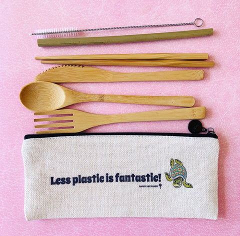 Less Plastic is Fantastic Zipper Pouch with Reusable Bamboo Utensils and Straw
