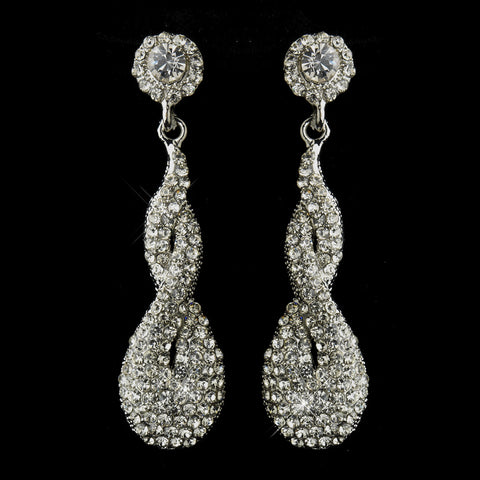 Antique Silver Pave Twist Earrings - Dolly Couture Bridal - vintage inspired tea length wedding dresses - customize