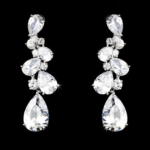 Cascading CZ Earrings - Dolly Couture Bridal - vintage inspired tea length wedding dresses - customize