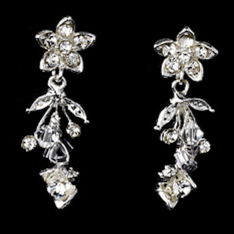 Crystal & Rhinestone Floral Earrings - Dolly Couture Bridal - vintage inspired tea length wedding dresses - customize