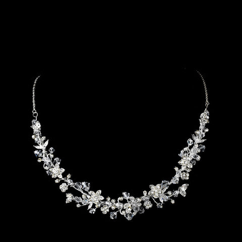Crystal & Rhinestone Floral Necklace - Dolly Couture Bridal - vintage inspired tea length wedding dresses - customize