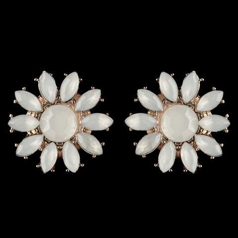 White Stone Flower Earrings - Dolly Couture Bridal - vintage inspired tea length wedding dresses - customize