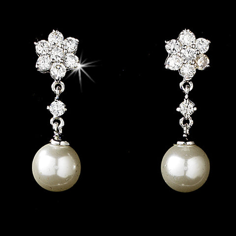 CZ Flower & Pearl Earrings - Dolly Couture Bridal - vintage inspired tea length wedding dresses - customize