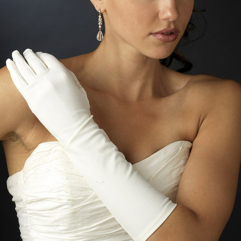 Stretch Satin Elbow Length Gloves - Dolly Couture Bridal - vintage inspired tea length wedding dresses - customize
