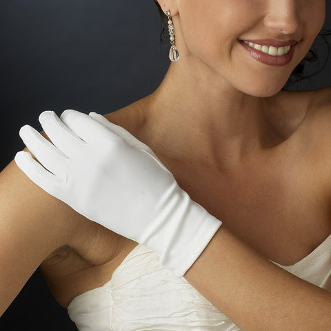 Stretch Satin Wrist Length Gloves - Dolly Couture Bridal - vintage inspired tea length wedding dresses - customize