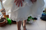 Peek a boo hem - Dolly Couture Bridal - vintage inspired tea length wedding dresses - customize