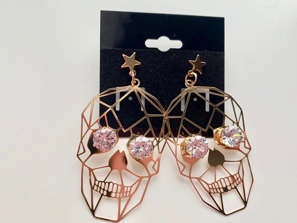 SKULL EARRINGS,  - Flamingo PINK