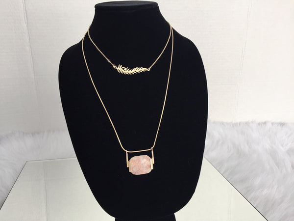 FEATHER GEM NECKLACE,  - Flamingo PINK