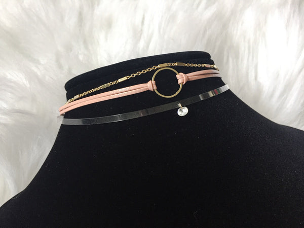 DIAMOND CHOKER SET,  - Flamingo PINK