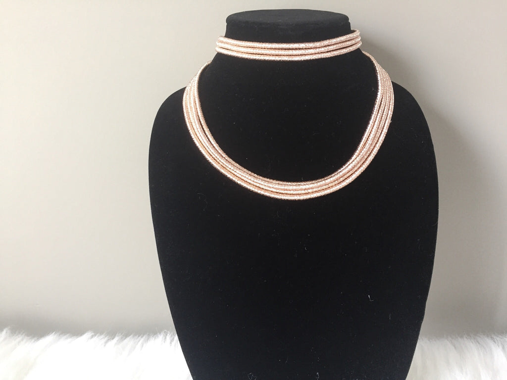 ROSE GOLD CHOKER SET,  - Flamingo PINK