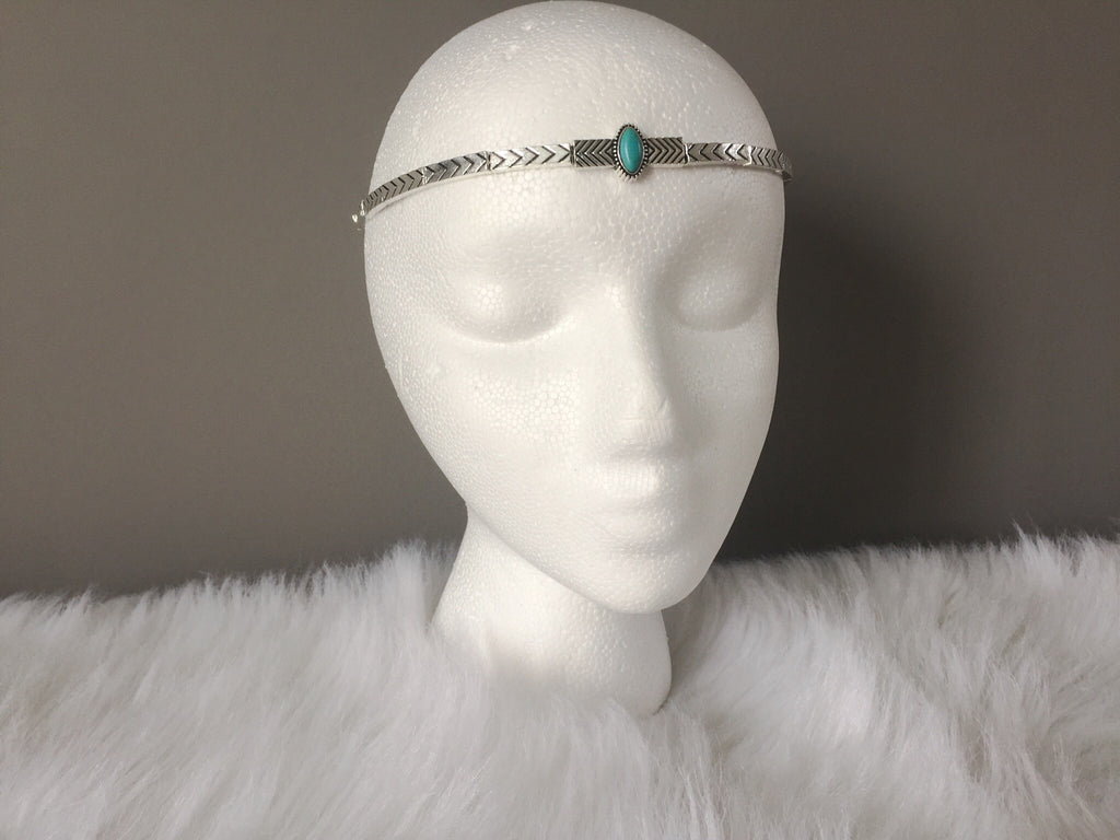 TURQUOISE/ANTIQUE SILVER HEADBAND,  - Flamingo PINK