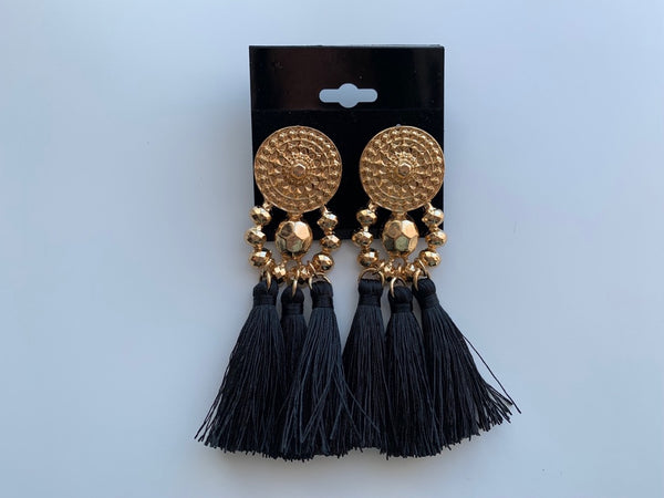 GOLD/BLACK TASSEL EARRINGS,  - Flamingo PINK