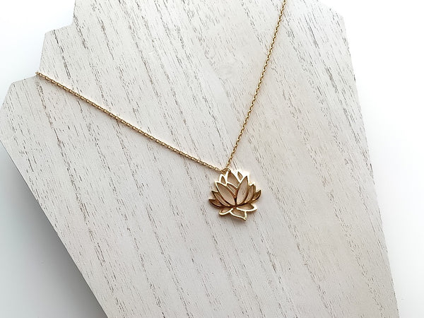 GOLD LOTUS NECKLACE,  - Flamingo PINK