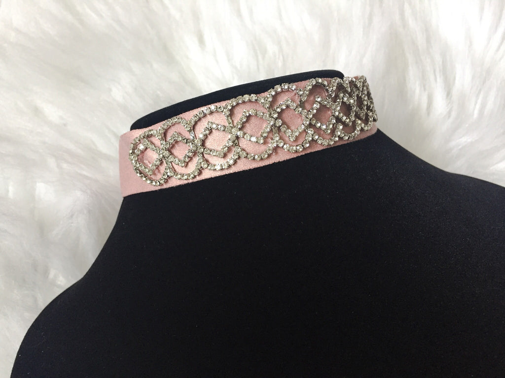 SATIN PINK DIAMOND CHOKER,  - Flamingo PINK