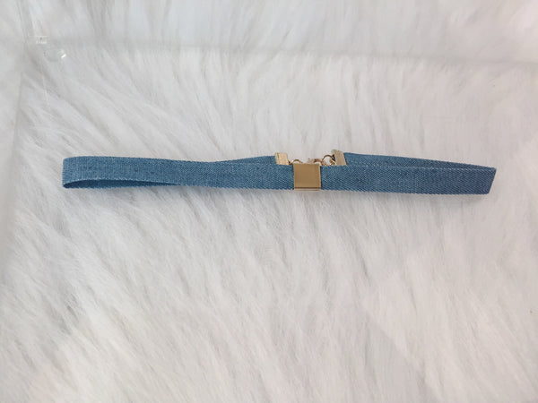 GOLD SQUARE DENIM CHOKER,  - Flamingo PINK