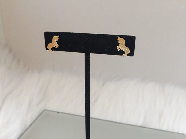 GOLD UNICORN STUDS,  - Flamingo PINK