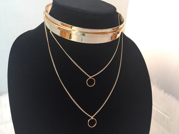 GOLD LAYERED COLLARED CHOKER,  - Flamingo PINK