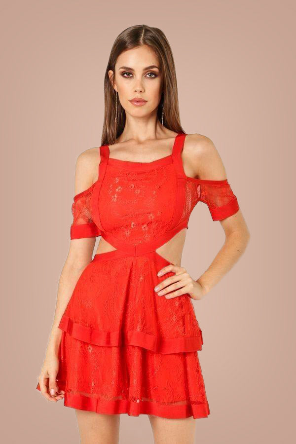 Dahlia Dress - Red - Masso Luxe