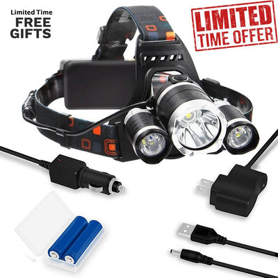Headlight Head Lamp 13000 Lumens  LED 4 Modes