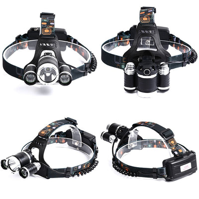 ZZKHSM LED Headlamp T6 LED Head Torch Flashlight 13000 Lumens LED Head Lamp 180 Degree Rotating Dual Bike Light Headlight Lamps