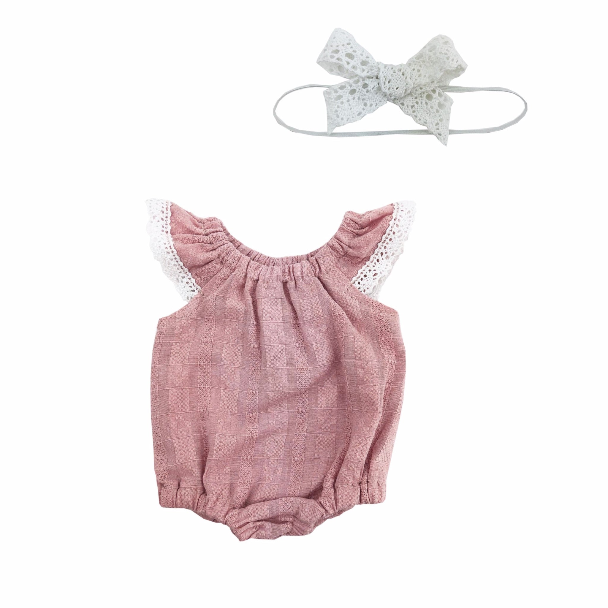 Rose Lace Flutter Romper Set