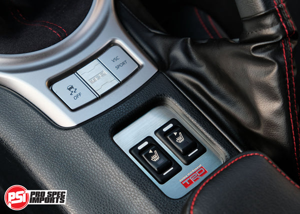 86 GTS - TRD Style Brushed Stainless Seat Warmer Button Surround