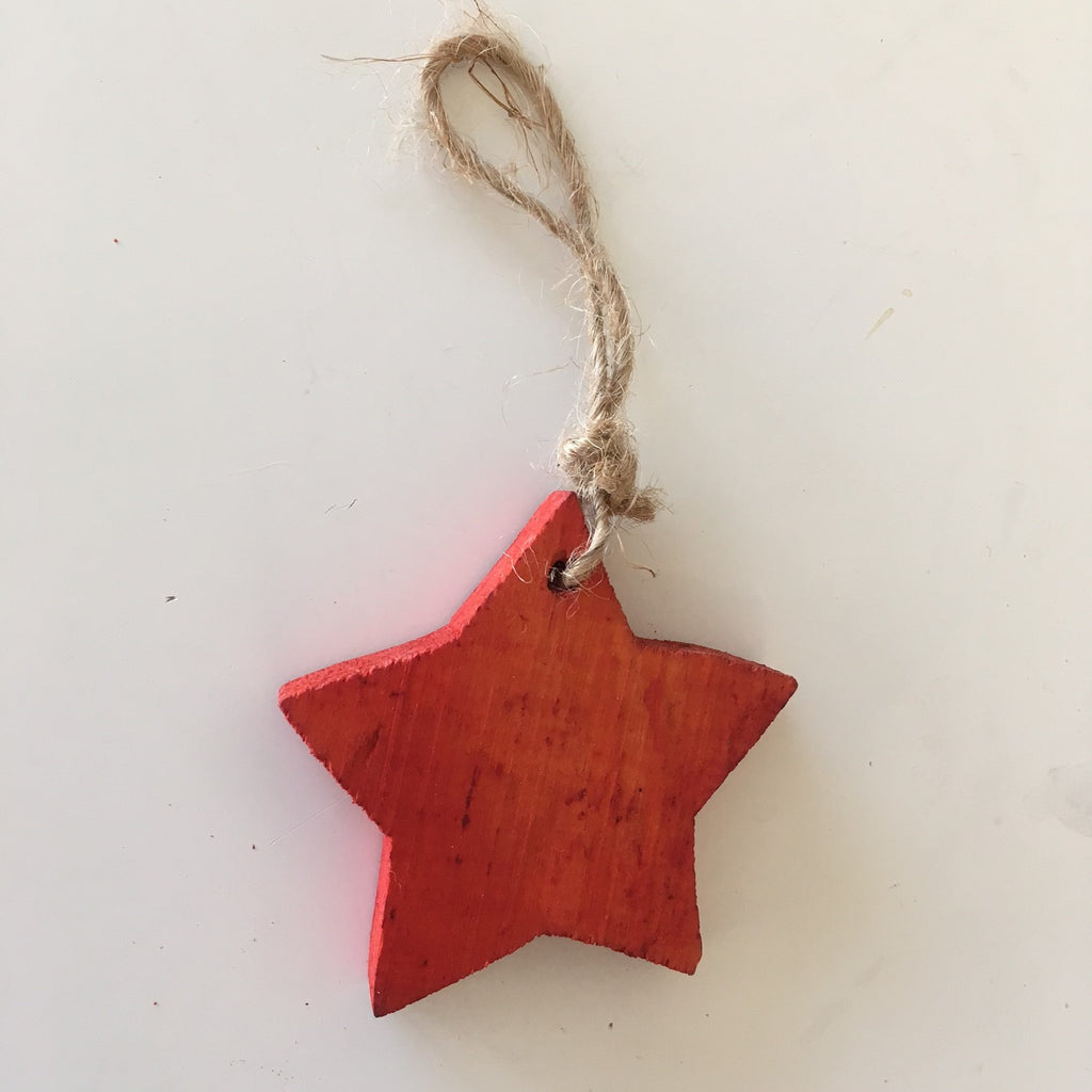 WOODEN STAR HANGING DECORATION