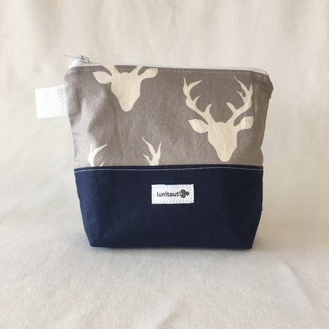 Ecofriendly zip Bag - Grey Buck