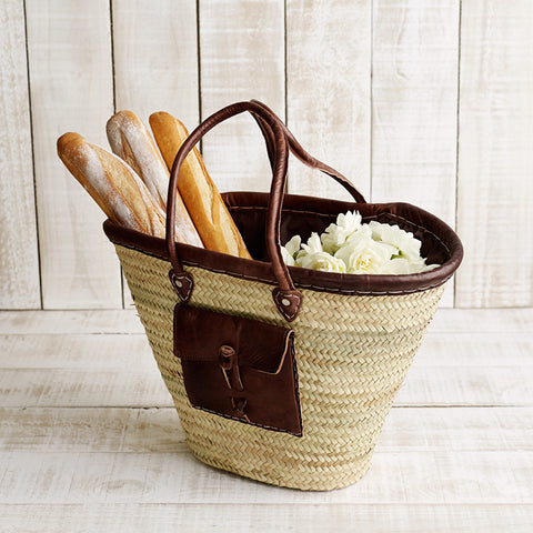 French Market Basket with Leather Trim and Pocket