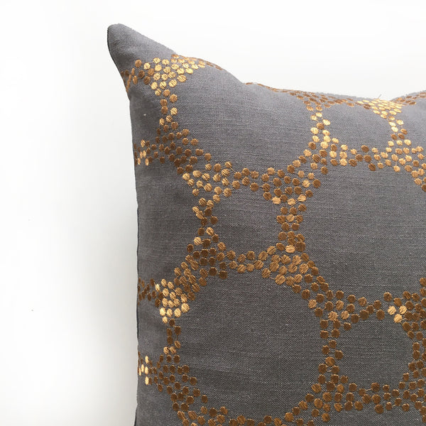 Copper embroidery rectangle cushion