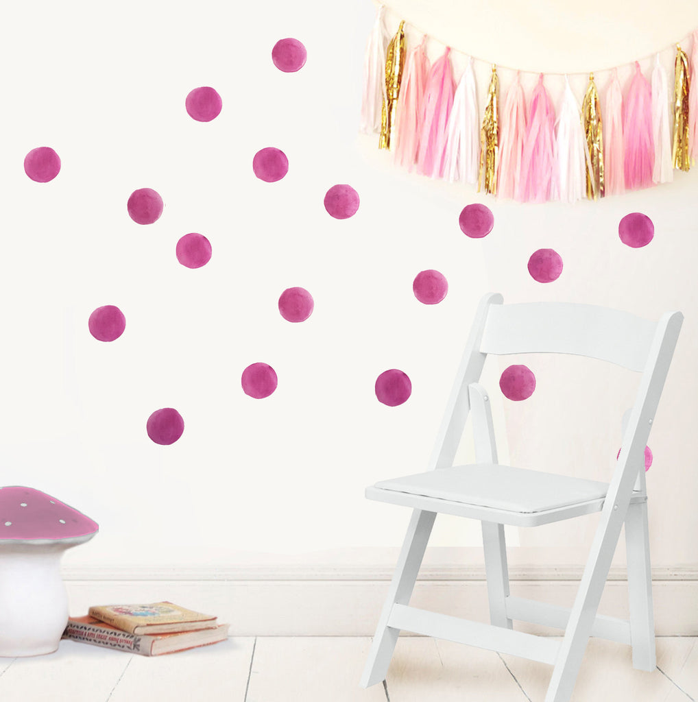 Watercolour Spot decal - Dark pink