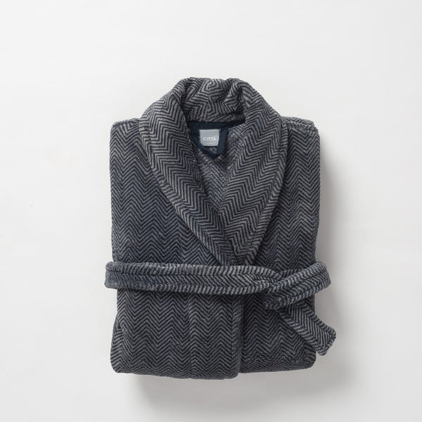 Citta Herringbone II Men's Raschel Dressing Gown