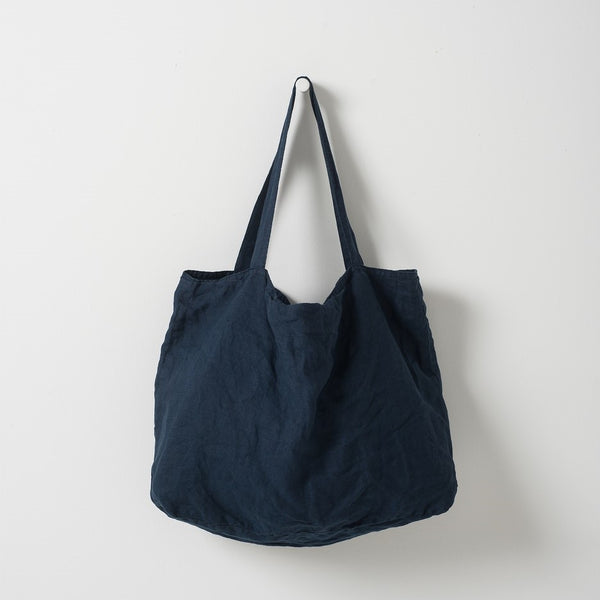 Michele Linen Beach Bag - Ink
