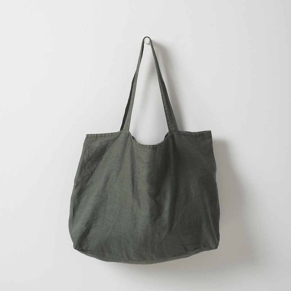 Michele Linen Beach Bag - Moss