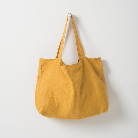 Citta Michele Linen Beach Bag - Mustard