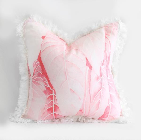 Palm Fringe cushion - Pink