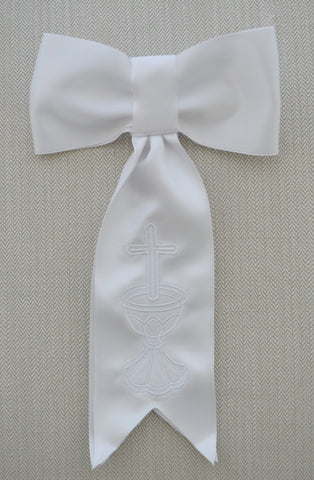 Boys First Communion Tie White or Navy with Embroidered Cross or Chalice