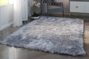 Shaggy Gray Area Rug 5.3 x 7.5 ft