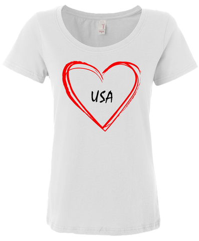 "Women's ""Love USA"" soft cotton t-shirt"