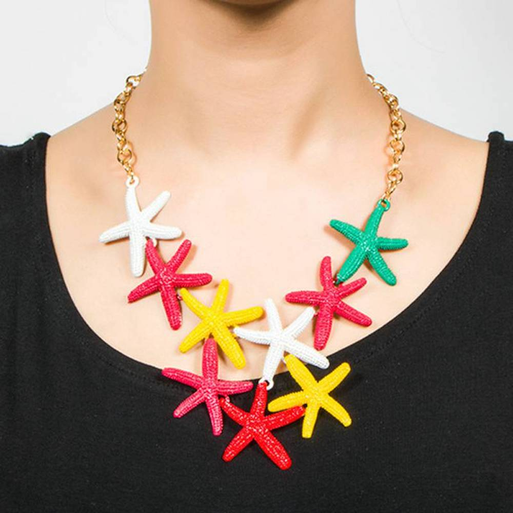Clearwater Neon Starfish Statement Bib Necklace