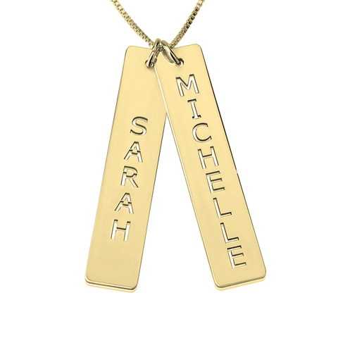 Personalized Stenciled Name Double Bar Pendant In Sterling Silver, With Optional 24k Gold Or Rose Gold Plating